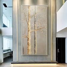 gold blatt geld baum handgemalte moderne abstrakte ölgemälde auf leinwand wand kunst für wohnzimmer dekoration keine gerahmte