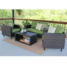Patio Furniture Conversation Sets Home Depot by Draper 4 Piece Wicker Patio Conversation Set With Green Cushions