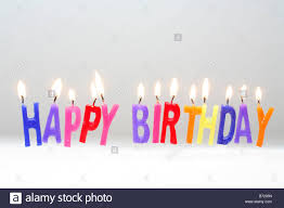 Happy Birthday candles cut out celebrate white background