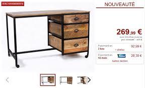 vente unique bureau bureau à roulettes venango 3 tiroirs bois et métal noir bureau