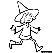 Halloween Witch Costume Online Coloring Page
