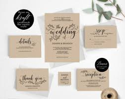 Romantic Rustic Wedding Invitation Template Printable Set Cheap
