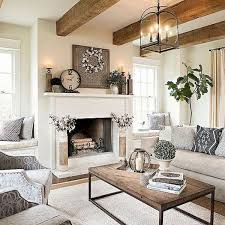 Farmhouse Living Rooms Decorating Room With A Fireplace