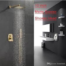 großhandel badewanne armaturen luxus matt gold messing bad wasserhahn mischbatterie wand montiert 10 zoll duschkopf kit dusche wasserhahn sets