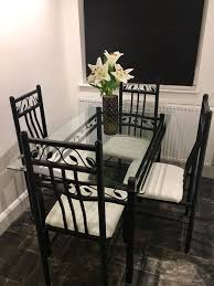 John Lewis Glass Dining Table With 4 Chairs In E11 London ... Amazoncom Tk Classics Napa Square Outdoor Patio Ding Glass Ding Table With 4 X Cast Iron Chairs Wrought Iron Fniture Hgtv Best Ideas Of Kitchen Cheap Table And 6 Chairs Lattice Weave Design Umbrella Hole Brown Choice Browse Studioilse Products Why You Should Buy Alinum Garden Fniture Diffuse Wood Top Cast Emfurn Nice Arrangement Small For Balconies China Seats Alinium And Chair Modway Eei1608brnset Gather 5 Piece Set Pine Base