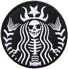 Iron Sew On Patch STARBUCKS Coffee Zombie Black