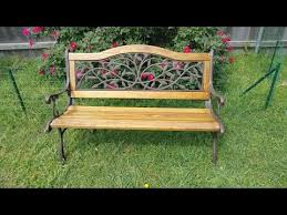 cast iron and wood garden bench diy restore project youtube
