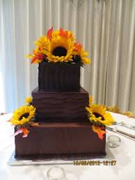 Chocolate Ganache And Sunflower Wedding Cake