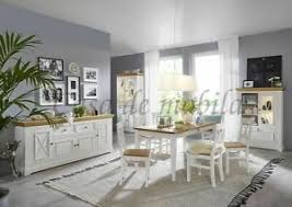 details zu massivholz esszimmer komplett 10teilig set kiefer massiv weiß gelaugt landhaus