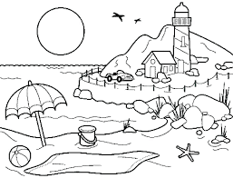 Printable Beach Coloring Pages Summer For Kids
