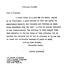 Letter From Albert Einstein To Robert S Marcus 1950 Discussing What He Believed Be One Fundamental Truth Of A Life Worth Living