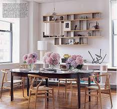 Dining Room Library Floating Shelves Wegner Wishbone Chairs From Elle Decor