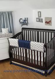 Nursery Beddings Navy And Gray Elephants Baby Crib Bedding With