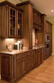 Perimeter Cabinets Coffee Rustic Cherry With Black Glaze Charleston Door Style Range Hood