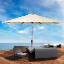 Tilt Patio Umbrella With Lights by Amazon Com Led Steel Pole Patio Solar Umbrella Outdoor Beach