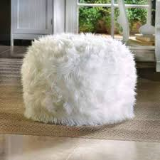 WHITE Fuzzy Furry Footstool Floor Pillow Cushion Seat Fabric Bean Bag Ottoman POUF