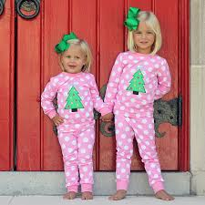 Girls Applique Christmas Tree Loungewear Pink Polka Dot