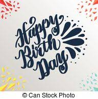 Happy birthday lettering Black and white pattern vector clip art