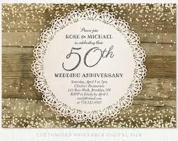 50th Wedding Anniversary Invitation Silver Glitter Confetti Rustic Lace Doily Party Invite Golden