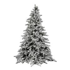Flock Utica 65 Green White Fir Trees Artificial Christmas Tree With Stand