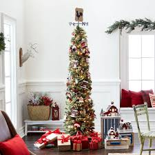 Wondrous Tall Skinny Christmas Tree Unusual 7 Ft Pre Lit Green Pencil Artificial Clear Lights