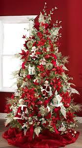 Poinsettia Christmas Tree Decorations Xmas Silver
