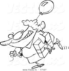 Vector Of A Cartoon Woman Carrying Birthday Gift And Balloon