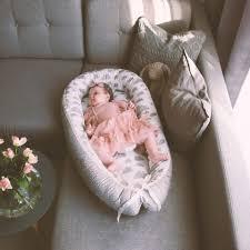 lulando babynest multifunktionales kuschelnest für babys und säuglinge grau weiß graue wolken