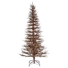 7ft Pre Lit Artificial Christmas Tree Hard Needle Brown Twig