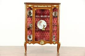 French Empire 1920 Antique Curio or China Display Cabinet Brass