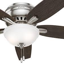 hunter fan 52 hugger ceiling fan in brushed nickel with a cased