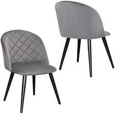 2er set esszimmerstuhl aus stoff samt stuhl retro design polsterstuhl mit rückenlehne metallbeine farbauswahl duhome 8052b farbe grau material samt