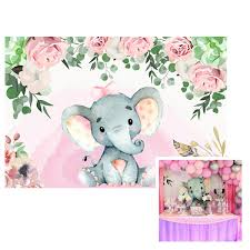 Baby Shower Background 65x5 Baby Girl Shower Party Gift Baby Elephant Dessert Table Backdrop Pink Roses Around Design W1540