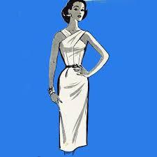 Vintage 50s Dress Pattern Slim Skirt Halter Backless Wiggle Cocktail