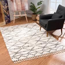 teppich wohnzimmer hochflor creme grau deko schlafzimmer soft shaggy mit fransen rauten muster 100 standard allergiker geeignet teppich