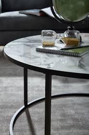 couchtisch rund 80x40x80 cm mit marmor optik weiß wohnzimmertisch mit metall gestell schwarz moderner dekotisch