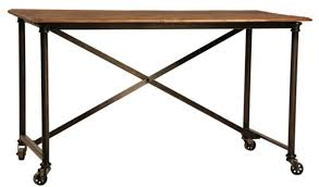 Hand Made Postobello Industrial Metal And Rustic Wood Desk by