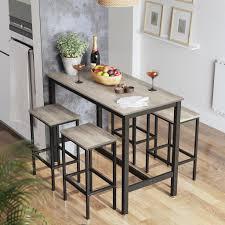 vasagle bartisch set stehtisch mit 2 barhockern 120 x 60 x 90 cm küchentresen mit barstühlen küchentisch und küchenstühle greige schwarz