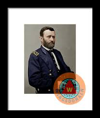 United States Of America President General Ulysses S Grant Colorized Framed Print By Wingsdomain Art And Photography