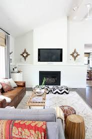 Brown Couch Living Room Design by Cool Mid Century Living Room Fireplace Grey Bblack White Patterned