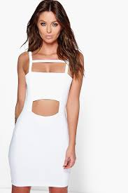 anine square neck strappy cut out bodycon dress boohoo