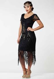 Gatsbylady Annette Vintage Inspired Fringe Flapper Dress In Black Gold