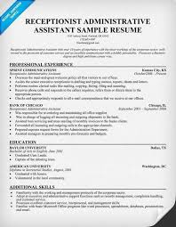 Sample Resume For Administrative Assistant Medical Receptionist New Template