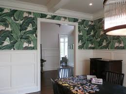 Palm Frond Wallpaper Pattern In Dining Room