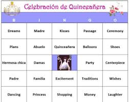 Quinceanera Bingo Game 60 Cards Party Theme Words Very Fun