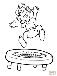 Click The Kid Jumping On Trampoline Coloring