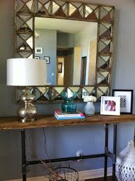 My Custom Rustic Console Table Is Complete And Has Been Finished With A Medium Tone Stain To Accent The Hardwood Floors I Wanted Unique Mirror Stay