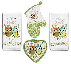 4 Piece Hoot Owl Kitchen Set