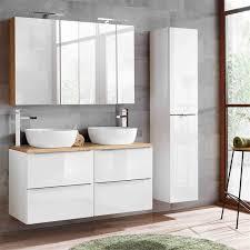 lomado badmöbel komplett set mit inkl 2 keramik waschbecken toskana 56 hochglanz weiß wotaneiche b h t ca 170 200 48cm