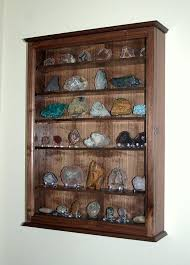 Mineral Rock Geode Display Case Wall Cabinet Collectors